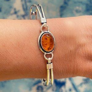 Amber 925 Sterling Silver Bangle Artisan Bracelet